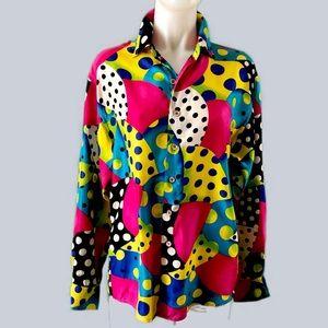 VTG. 80s Crazy Bold Polka Dot Oversize Silk Blouse